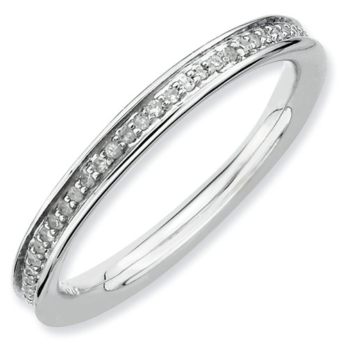 2.25mm Rhodium Plated Sterling Silver Stackable Expressions Diamond Eternity Ring - Size 10 by Stackable Expressions