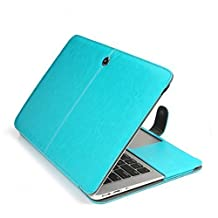 MacBook Pro Leather Case, SlickBlue Premium Quality PU Leather Book Cover Clip On Sleeve Case Cover for Apple MacBook Pro 13 inch (Model:A1278) - Blue