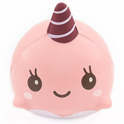 Jumbo Slow Rising Squishies Charms Kawaii Squishies Cream Scented Toys For Kids and Adults (Whale-Pink)