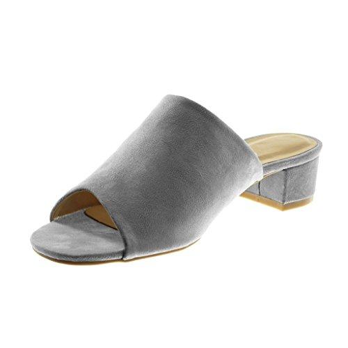 Mules Slip Sandali Peep cm Alto Angkorly Grigio Blocco 4 Toe Moda Scarpe on a Donna Tacco xanTU