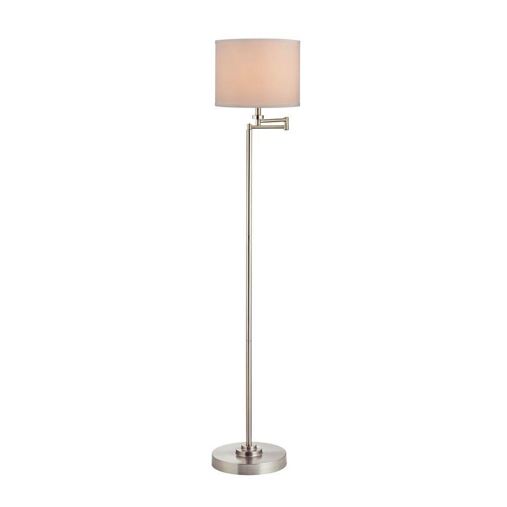 Swing Arm Floor Lamp with Cream Linen Drum Lamp Shade