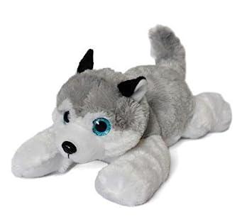 """Perro Husky de peluche blanco y gris con ojos brillantes 16""""/41cm Calidad super"""