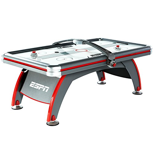 ESPN Air Hockey Game Table: 84 Inch Indoor Arcade Gaming Set with Electronic Overhead Score System, Sound Effects, Cup Holders, Pucks and Paddles (Air Arcade Hockey)