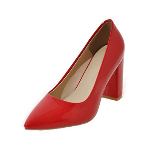 Odomolor Women's Solid Patent Leather High-Heels Pull-On Closed-Toe Pumps-Shoes Red X5FlTm8