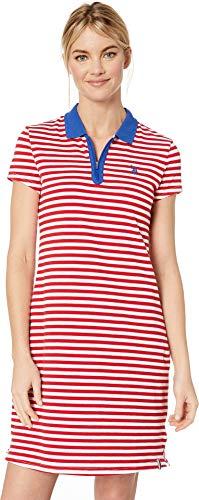 (U.S. Polo Assn. Women's Short Sleeve Zip Stripe Dress Red Ginger X-Large)