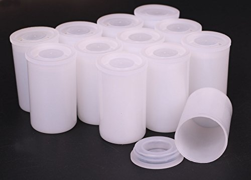 Shapenty White Plastic Film Canister Holder Small Personal and Household Items Storage Containers Case with Lids for Scientific Activity or Travel, 12PCS