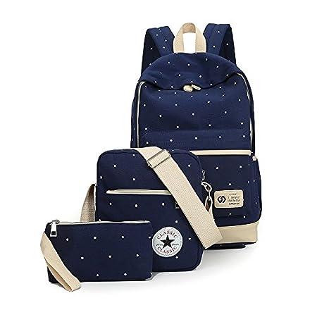 Wyhui Canvas Girl School Bags For Teenagers backpack women Three piece suit  shoulder bags 3 Pcs Set rucksack boy mochila knapsack Black one size  ... c4a32a5643e8a