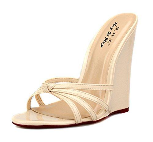Mirar 40 Verano Porciones Zapatos Vestir Pie Tamaño Apricot Del Dedo Sandalias Fiesta Slingback 46 Furtivamente Zapatillas Talones Negro Mujer Ponerse Señoras Rojo CFwPzq5H