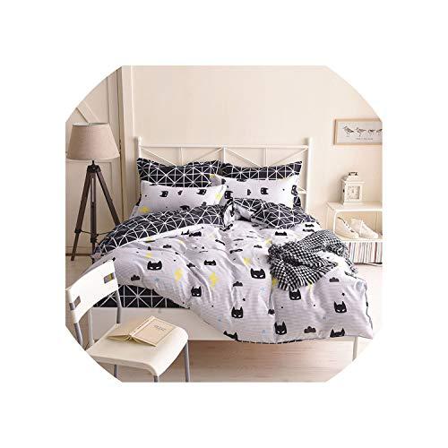 Duck bean Batman Mask Print Bedding Set Cartoon Style White Color Kids Twin Full Queen Size Duvet Cover Sheet Pillowcase Bedding Sets,Type 1,Double 4pcs