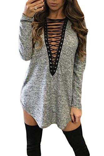 Neue Damen grau & schwarz Lace Up Front Long Sleeve T-Shirt Dress Club Wear Kleidung Größe S UK 8–10EU 36–38