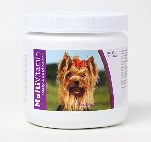 Healthy Breeds Dog Multivitamin Soft Chew for Yorkshire Terrier - Over 80 Breeds - Daily Vitamin and Mineral Supplement - 60 Count