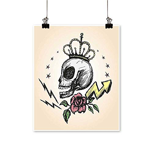 (Home Decor Folk Inspired Skelet Crown Rose Halloween sy Yellow Peach Art Wall Art for Room,28