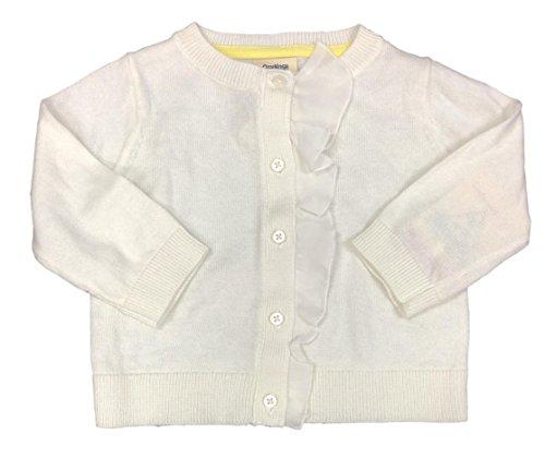 OshKosh B'Gosh Little Girls White Ruffle Knit Cardigan Button Sweater (8)