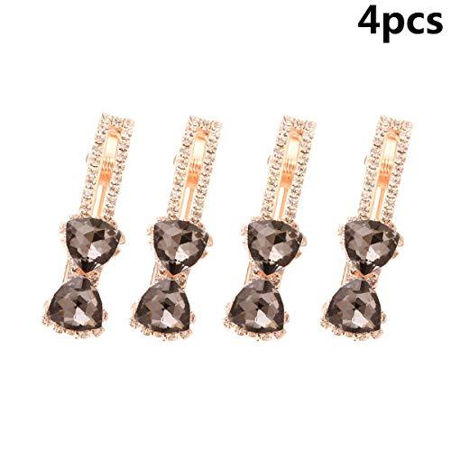Vpang 4 Pcs Clear Rhinestone Hair Barrette Clip Hair Pin Crystal Bow Hair Clip Duckbill Alligator Clip Pin Hair Accessories for Women Girls (Grey) ()