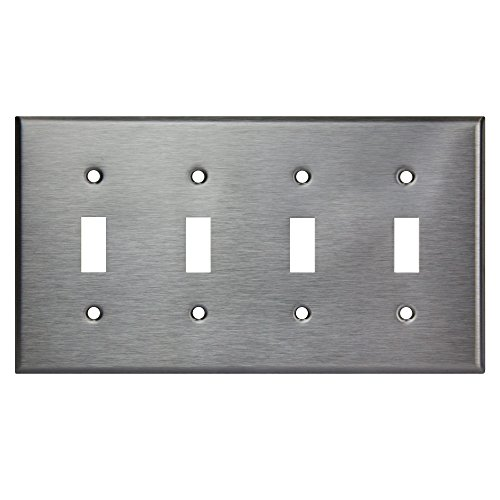 (ENERLITES Toggle Light Switch Metal Wall Plate, Corrosive Resistant, Size 4-Gang 4.50