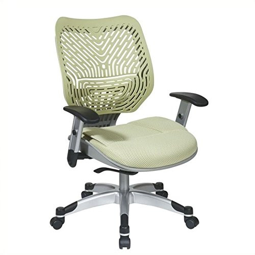 SPACE Seating REVV Self Adjusting SpaceFlex Kiwi Backrest Support and Padded Kiwi Mesh Seat with Adjustable Arms and Platinum Finish Base Managers Chair (Adjustable Mesh Backrest)