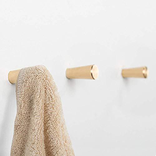 HoneiLife Coat Hooks Wall Hanger - Brass Coat Rack Wall Mounted Towel Hooks Metal Bath Hooks Kitchenware Organizer Handmade Wall Hook Rack Hat Hooks Key Holder-S,3 Pack