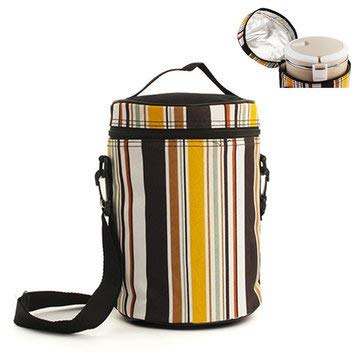 Chevron Tank Suitcase - Thermal Insulated Stripe Cooler Bag Outdoor Extra Picnic Lunch Box Bbq Pack Accessory - Band Bagful Traveling Streak Ice Chest Handbag Udder Grade -