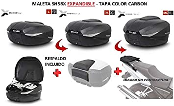 SHAD Kit BAUL Maleta Trasero SH58X litros + FIJACION + Respaldo Pasajero Regalo - Compatible con KTM 1290 Super Adventure R/S/T 2014-2018