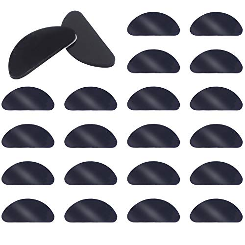 20 Pairs 1 mm Silicone Nose Pads Adhesive Glasses Pads Non-Slip Eyeglass Pads for Eyeglasses Sunglasses Black