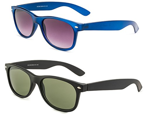 Matte Black Frame/Green Lens and Matte Blue Frame/Grey Gradient - Fake Bans Protection Ray Uv