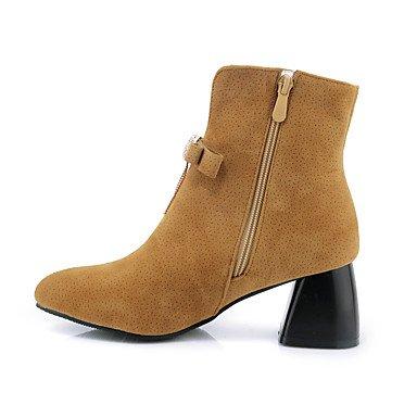 Heart&M Mujer Zapatos Semicuero Otoño Invierno Botas de Moda Botas Tacón Robusto Punta cerrada Botines Hasta el Tobillo Pedrería Pajarita Borla