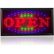 "Ovovo Open Sign for Business LED 3 Color High Visible Flashing LED Light Open Business Sign with Hanging Chain and On/Off Switch 18.9"" X 9.8"""