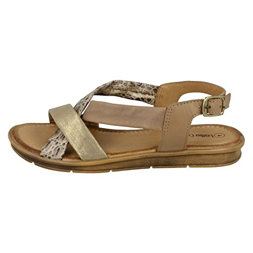 Leather Collection Ladies Flat Slingback Sandals Camel (Beige) Ya4UEFkq6