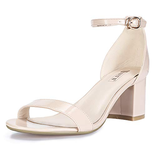 IDIFU Women's IN2 Cookie-LO Low Heel Ankle Strap Dress Pump Sandal (Nude Patent, 7.5 B(M) US) - Patent Ankle Strap Pump