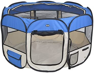 EXPAWLORER 45 Puppy Playpen Dog Exercise Kennel Cat Portable Foldable Pen for Small Medium Pets, with Carry Bag