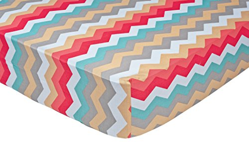 Trend Lab Waverly Pom Pom Play Crib Sheet, Chevron (Teal Chevron Toddler Bedding)