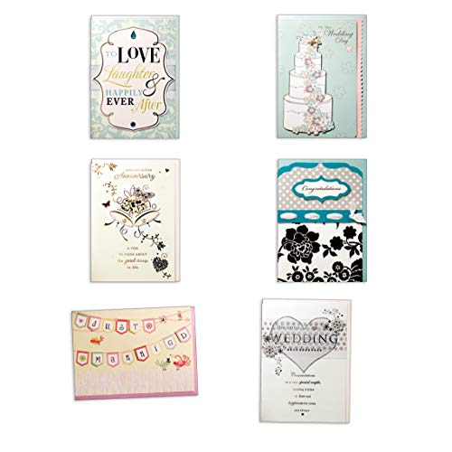 Assorted Wedding Cards Box Set Bundle of 6 Cards, Handmade Embellished Wedding Anniversary Cards Bridal Shower Cards Wedding Congratulations