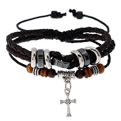wentaotao Men's Beaded Cross/Leaf/Clover Leather Bracelet Multi-Layer Adjustable Leather Braided Bangle (Brown Cross)