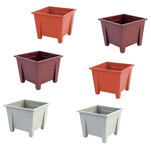 Set of 6 Square Planters in Assorted Colors, Brown, Terra Cotta, and Ash Colors (Assorted)