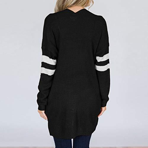 Rayé Poches Longues Femmes Pour Cardigan Manches Pull À D'extérieur Vêtements Long Holywin Manteau Noir Avec Tqxv5Yx