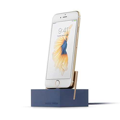 (Native Union Dock+ Weighted Charging Dock with [Apple MFi Certified] Reinforced Lightning Cable for iPhone/iPad (Blue) )