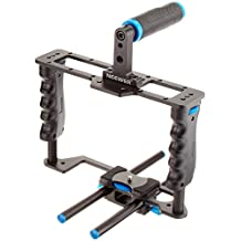 """Neewer® Pro(Pro Version of NeewerProduct)Aluminum Camera Video Cage Kit with (1)Video Cage(1)Top Handle Grip(2)15mm Rod for Canon 5D mark II/ 5D mark III/700D 650D 600D 550D 500D 450D;Nikon D7000 D5200 D5100 D5000 D3300 D3200 D3100 D3000;Pentax K7 K5 K3 Sony A850,A700,A550,A450,A77,Olympus E-P3, E-P5, E-PL3 and Other SLR DSLR Camera Professional Photograph with Universal Hot Shoe with 1/4"""" Thread"""