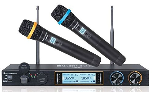 Martin Ranger U-6800R Metal Dual Channels UHF 900MHz Wireless Microphone System with Plug-in USB Rechargeable Lithium Battery ()