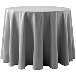 Ultimate Textile -10 Pack- Cotton-Feel 60-Inch Round Tablecloth - for Wedding and Banquet, Hotel or Home Fine Dining use, Grey