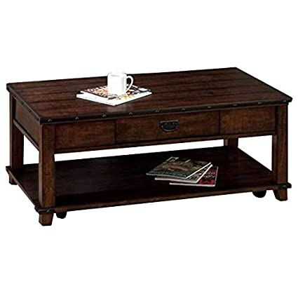 Amazon Com Jofran Coffee Table In Cassidy Brown Finish Kitchen