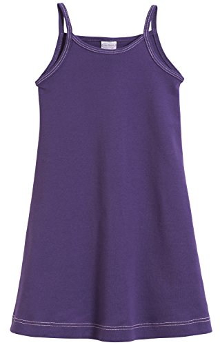 City Threads Big Girls' Summer Dress Cami Camisole Spaghetti Strap Maxi Slip No Sleeve Dress For Sensitive Skin or SPD Sensory Friendly, Purple w/ Light Pink Stitch, -