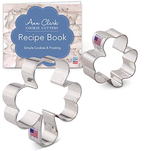 (St. Patrick's Day Shamrock Cookie Cutter Set with Recipe Booklet - 2 piece - 2.6 & 4 Inch - Ann Clark - US Tin Plated Steel)