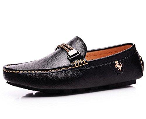 Beauqueen Cuero de los hombres que conduce los holgazanes que adornan la correa Suela suave superior transpirable antideslizante Zapatos ocasionales UE tamaño 39-44 Black