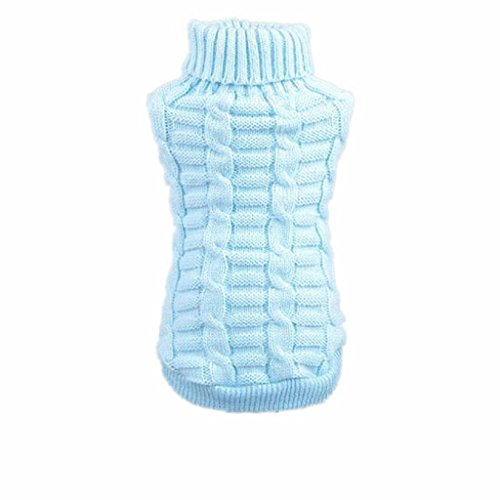 Outtop Dogs Cold Weather Knitted Turtle Neck 3D Patterns Sweater for Small-sized Dogs Dachshund, Poodle, Pug, Chihuahua, Shih Tzu, Yorkshire Terriers, Papillon (L, Blue)