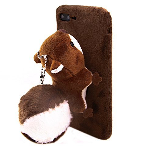 New Cute Cartoon 3D Animal Squirrel Toy Soft Plush Mobile Phone Case Cover For iPhone 7 8 Plus 5.5 Inch, Brown Squirrel (Brown, 5.5Inch)
