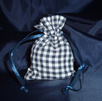 3x4 Cotton Gingham Wedding Favor Gift Bags/Pouches - Navy Blue (10 ()