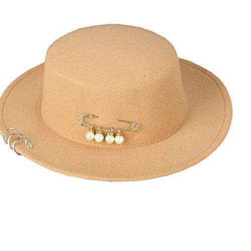 Feutre Chameau Décoration Hiver Porkpie Chaud Acvip Automne Chapeau Femme Perle Fedora Imitation xUvnPIq