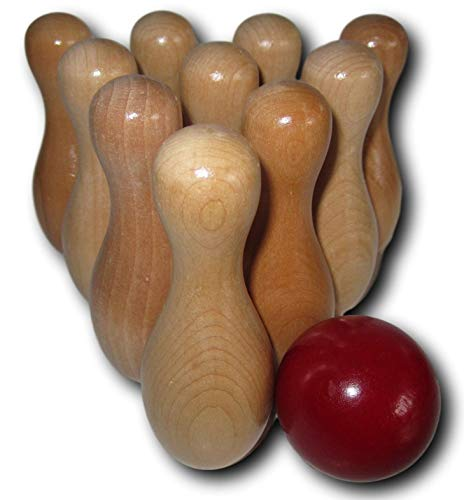 dccandy Shuffleboard Table Bowling Pins Set 10 Wooden Pins Plus 1 Red Wood Ball Kids & Adult Game