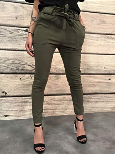 Alta Orandesigne Skinny Eleganti Verde Matita Casual Moda Tasche Vita Estate Spiaggia Ufficio Pants Esercito Elasticizzati Donna Slim Fit Pantaloni tSqxfwrS