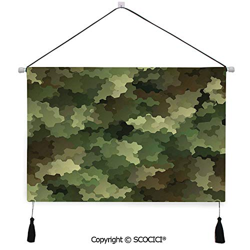 SCOCICI Durable Material Multipurpose W24xL17inch Wall Hanging Tapestry Frosted Glass Effect Hexagonal Abstract Being Invisible Woodland Army Decorative Painting Living Room Painting Fabric Backgroun